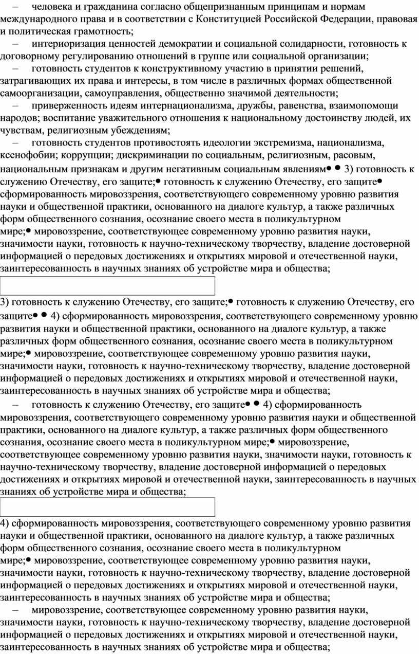 Конституцией Российской Федерации, правовая и политическая грамотность; – интериоризация ценностей демократии и социальной солидарности, готовность к договорному регулированию отношений в группе или социальной организации; –…