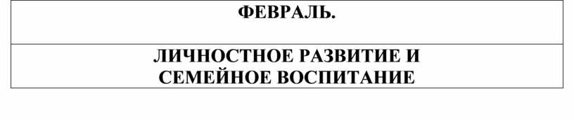 ФЕВРАЛЬ. ЛИЧНОСТНОЕ