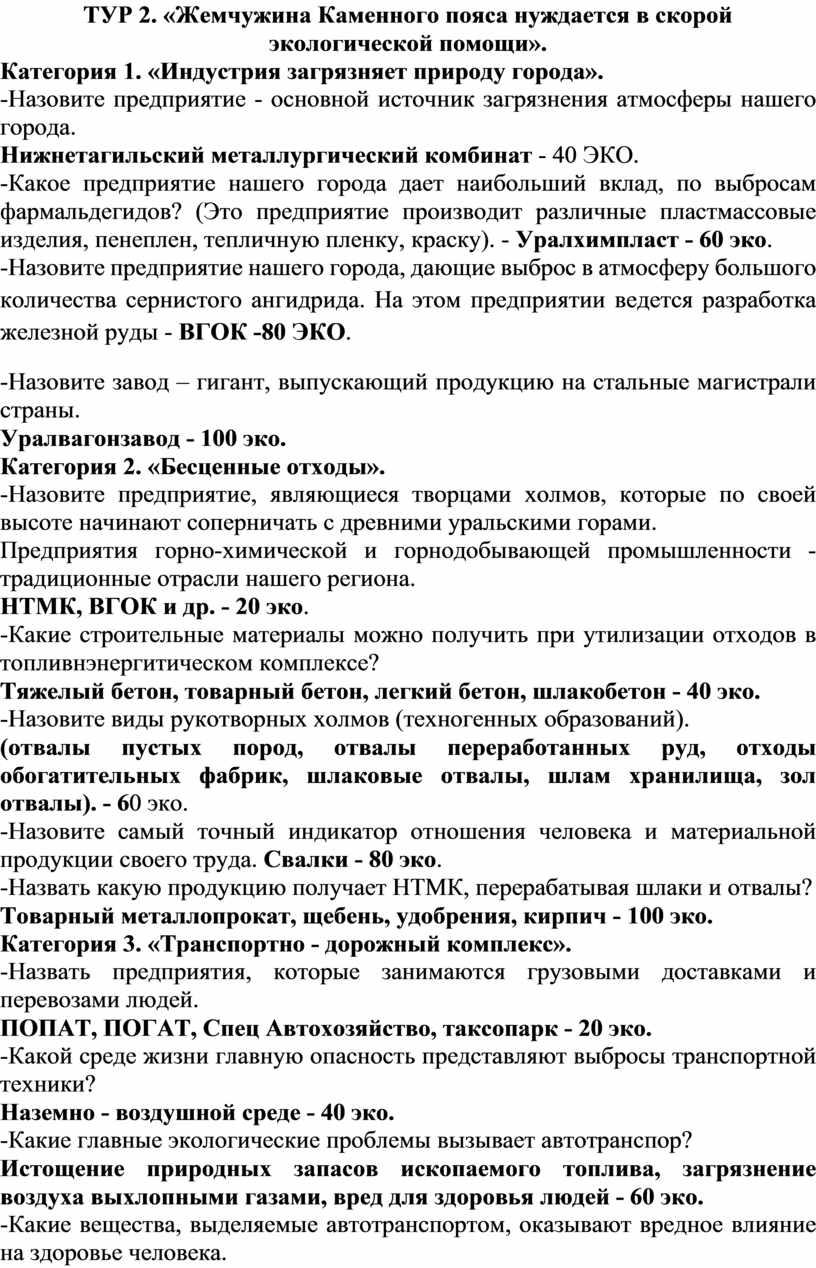 ТУР 2. «Жемчужина Каменного пояса нуждается в скорой экологической помощи»
