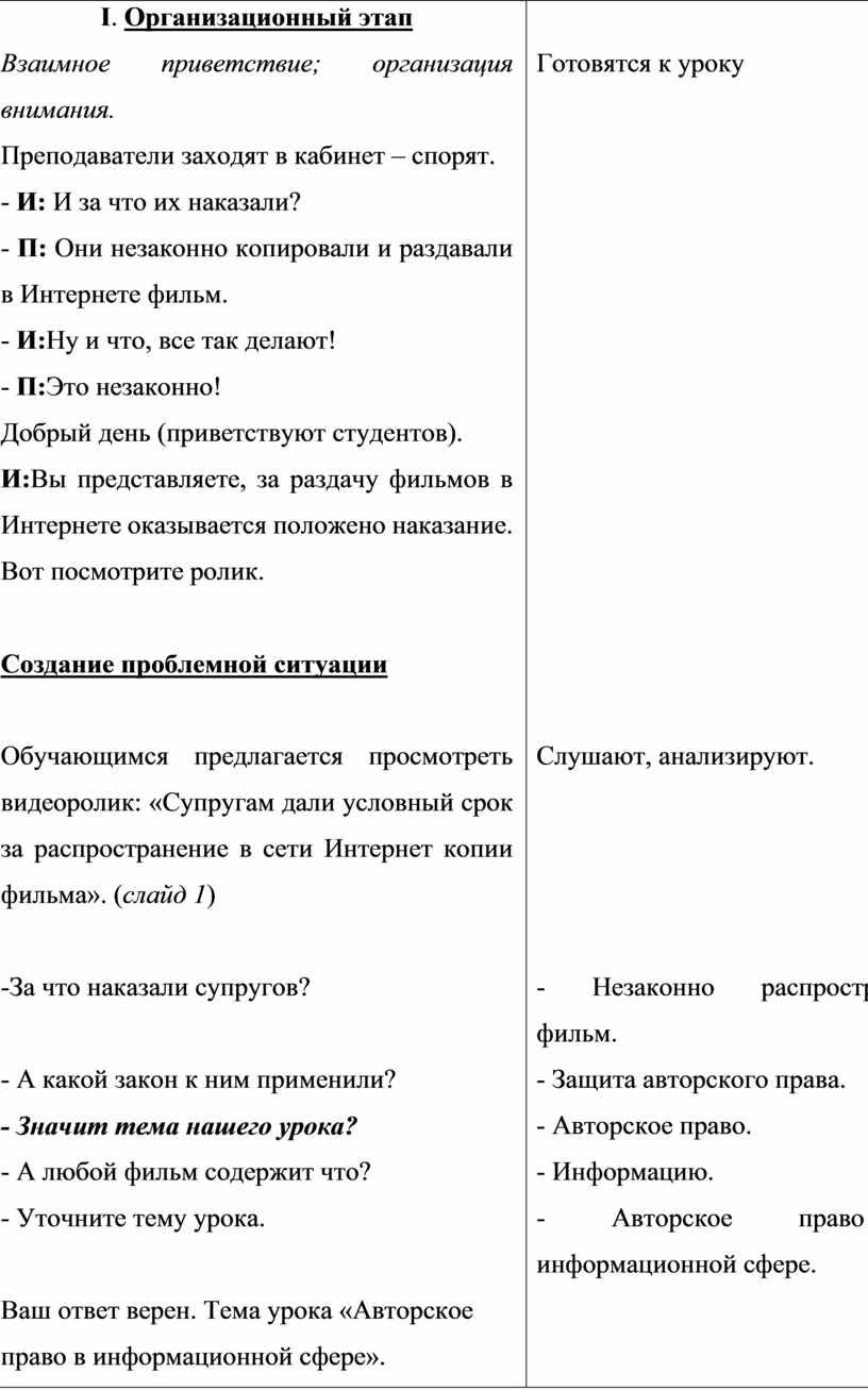 I . Организационный этап