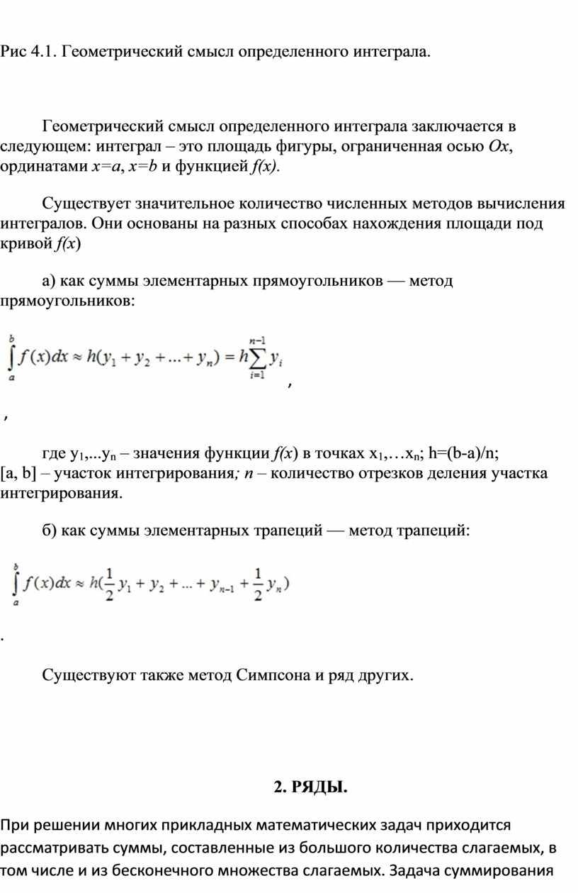 Рис 4.1. Геометрический смысл определенного интеграла