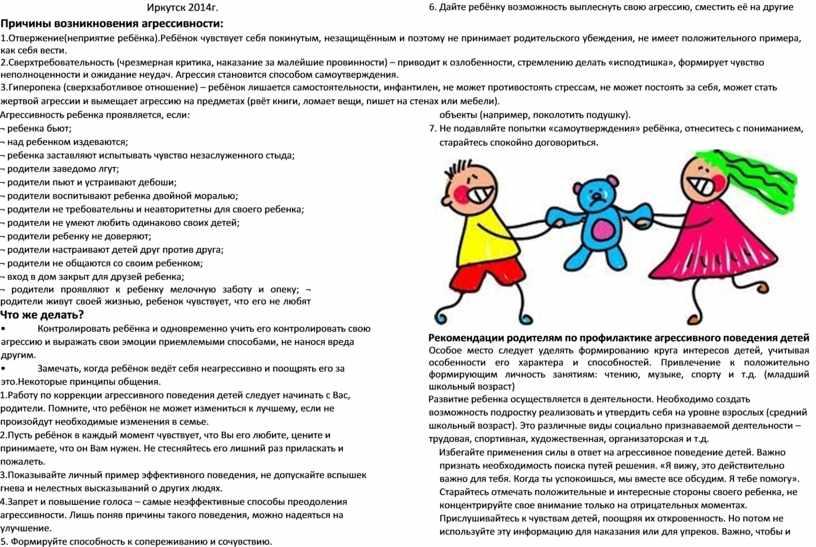 Иркутск 2014г. Причины возникновения агрессивности: 1