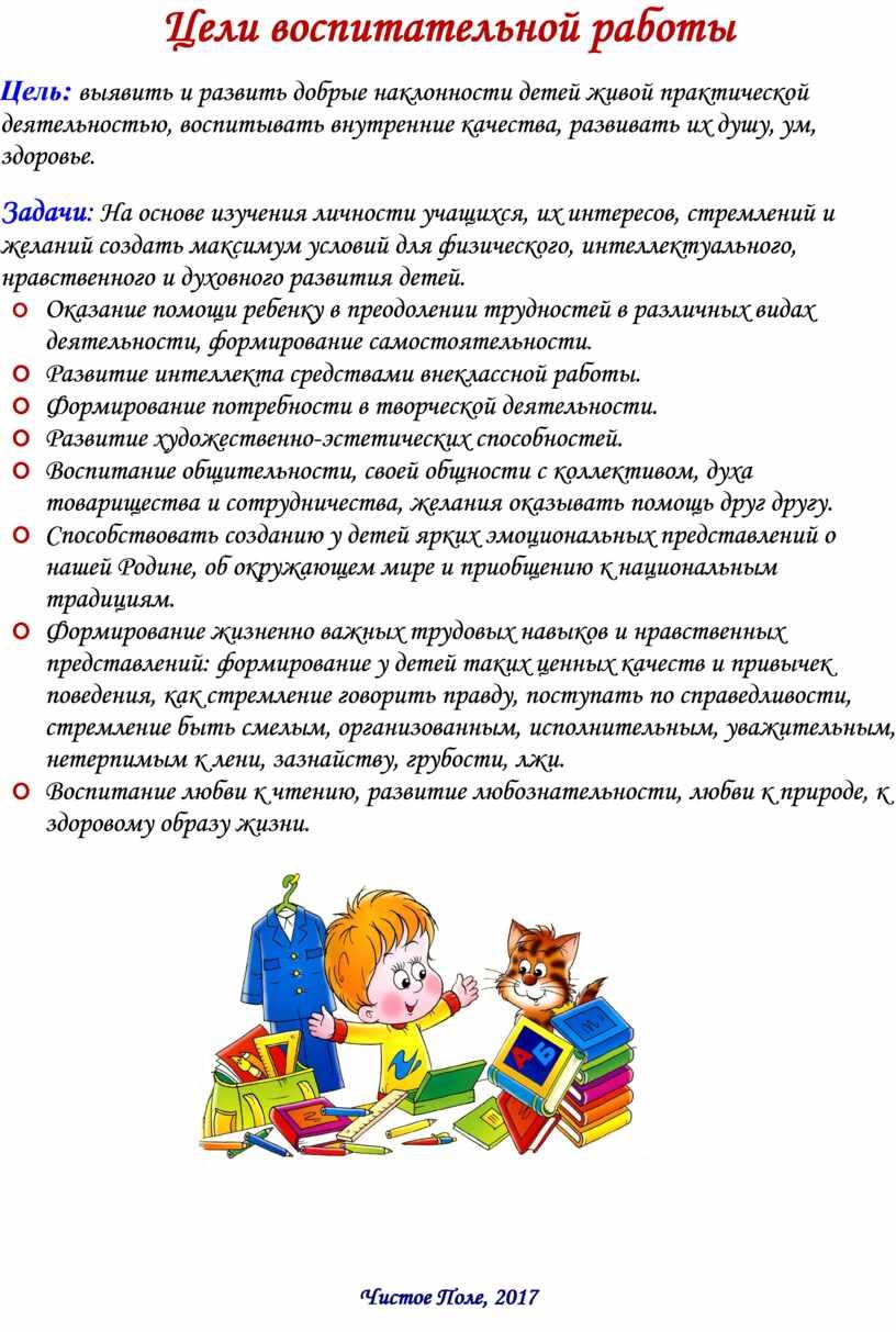 Цели воспитательной работы Цель : выявить и развить добрые наклонности детей живой практической деятельностью, воспитывать внутренние качества, развивать их душу, ум, здоровье