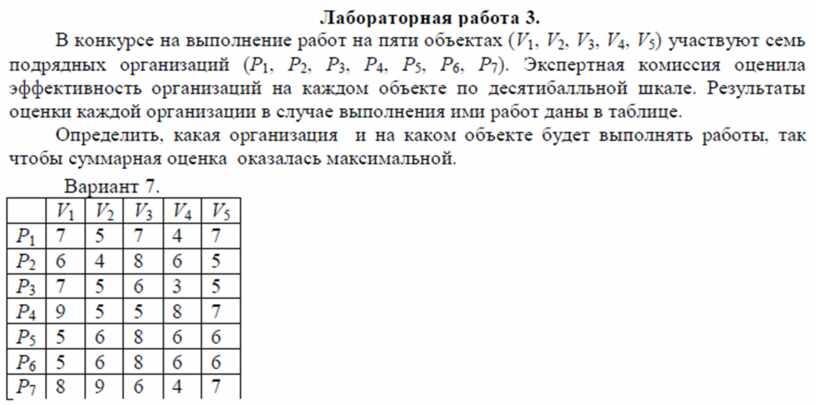 Задание MS Excel