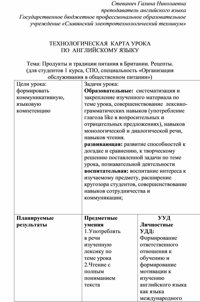 Стеванич Галина Николаевна преподаватель английского языка