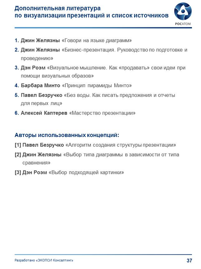 Дополнительная литература по визуализации презентаций и список источников