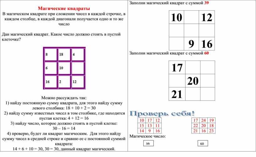 Магические квадраты В магическом квадрате при сложении чисел в каждой строчке, в каждом столбце, в каждой диагонали получается одно и то же число