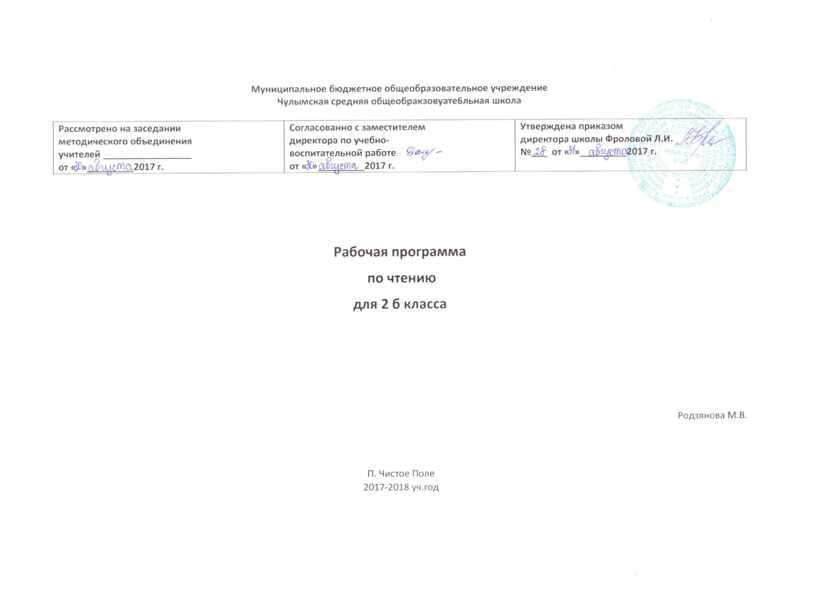 """Рабочая программа по литературному чтению """"Школа России"""" 2 класс"""