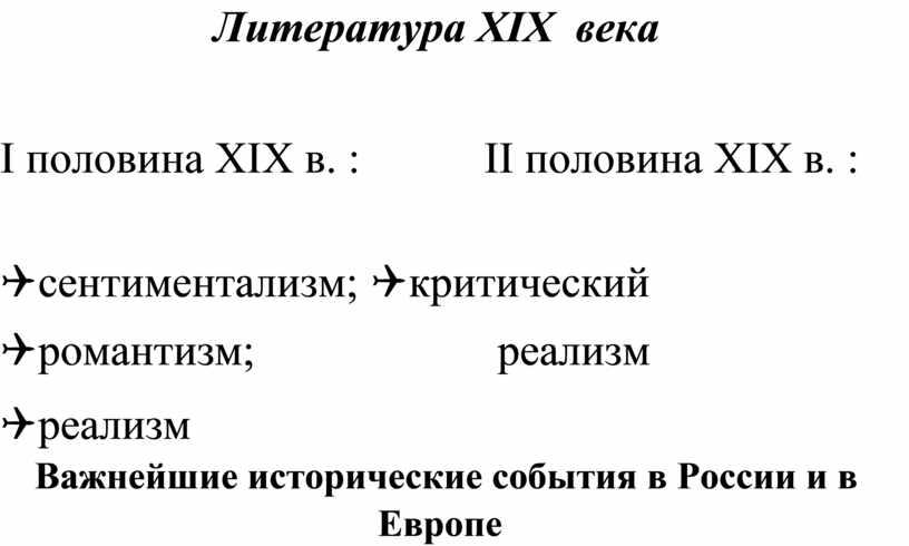 Литература XIX века I половина