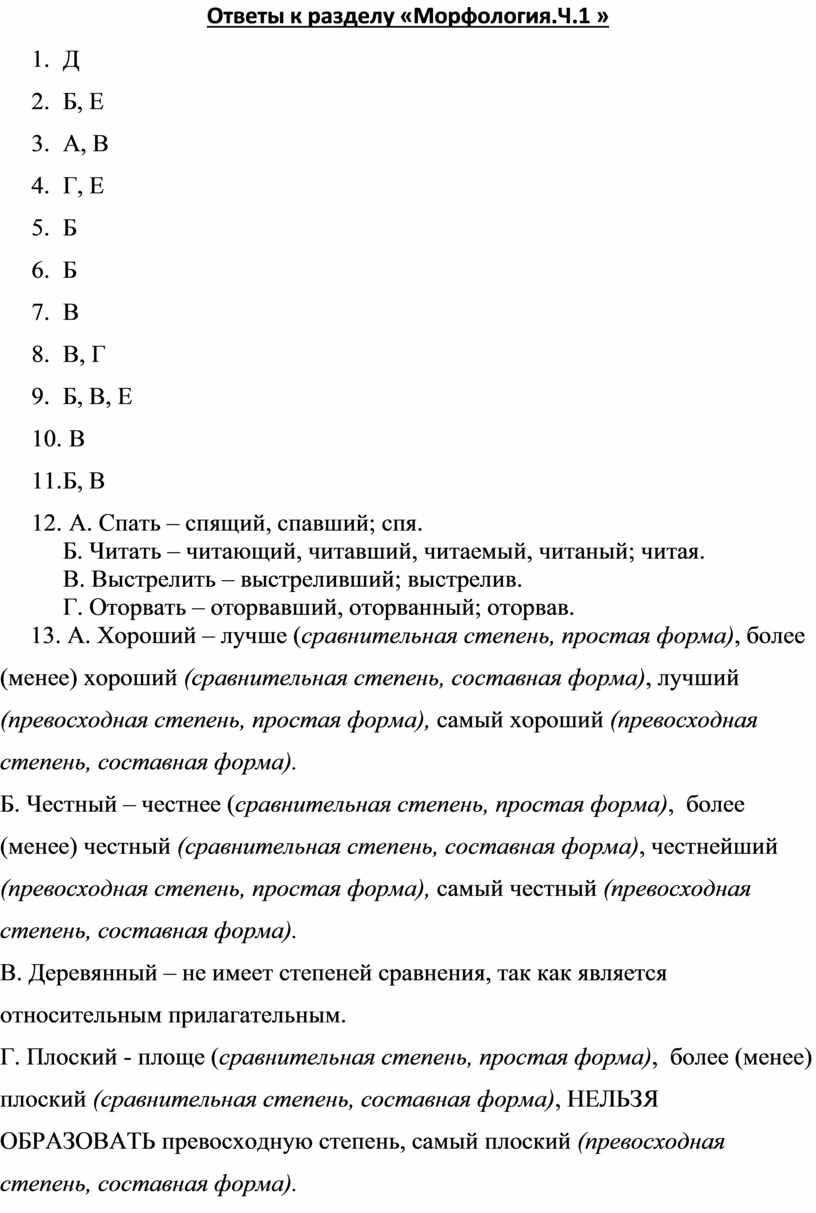 Ответы к разделу «Морфология.Ч
