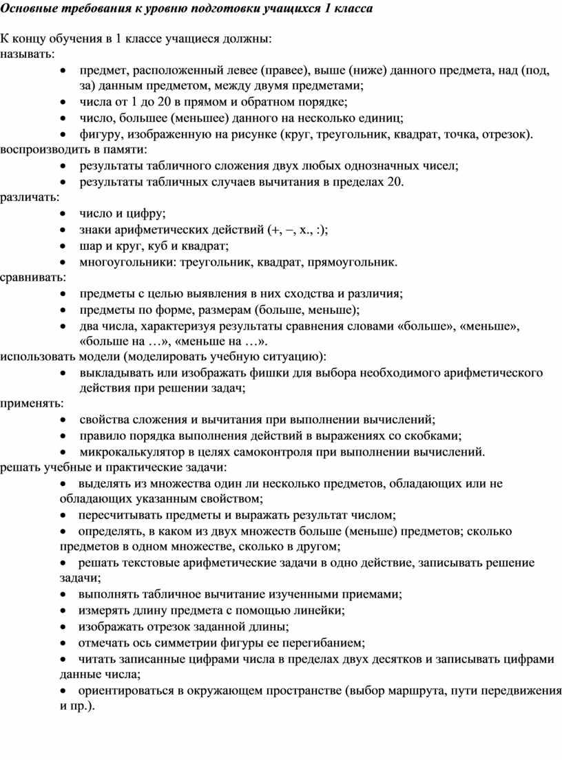Основные требования к уровню подготовки учащихся 1 класса