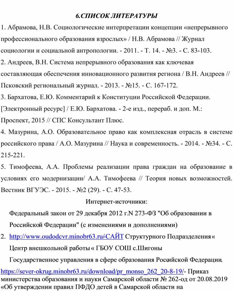 СПИСОК ЛИТЕРАТУРЫ 1. Абрамова,