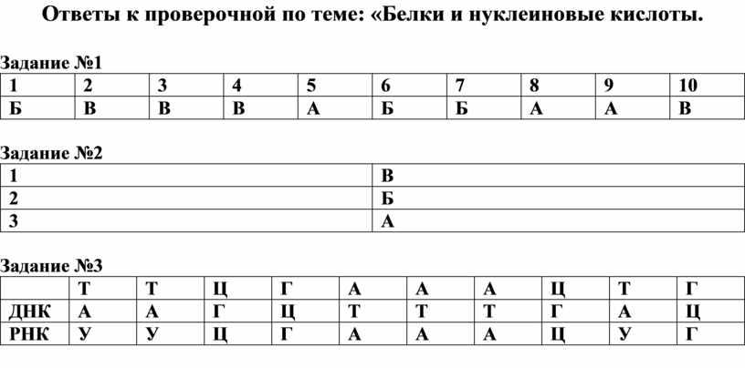 Ответы к проверочной по теме: «Белки и нуклеиновые кислоты