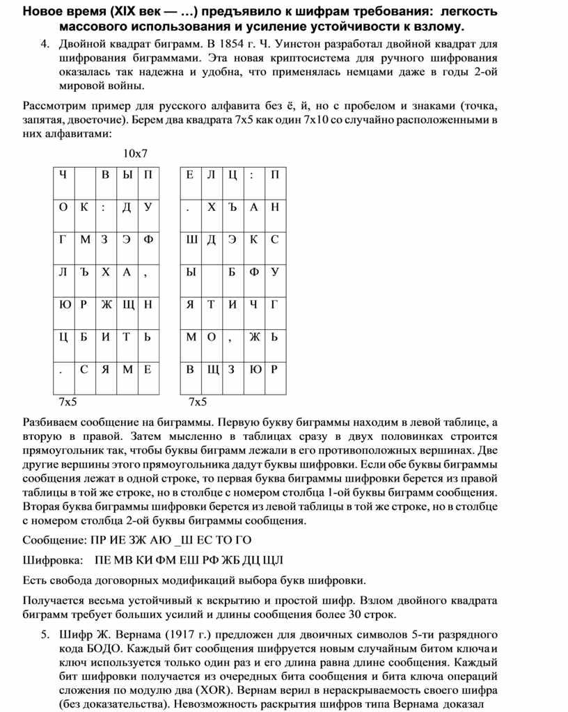 Новое время (XIX век — …) предъявило к шифрам требования: легкость массового использования и усиление устойчивости к взлому