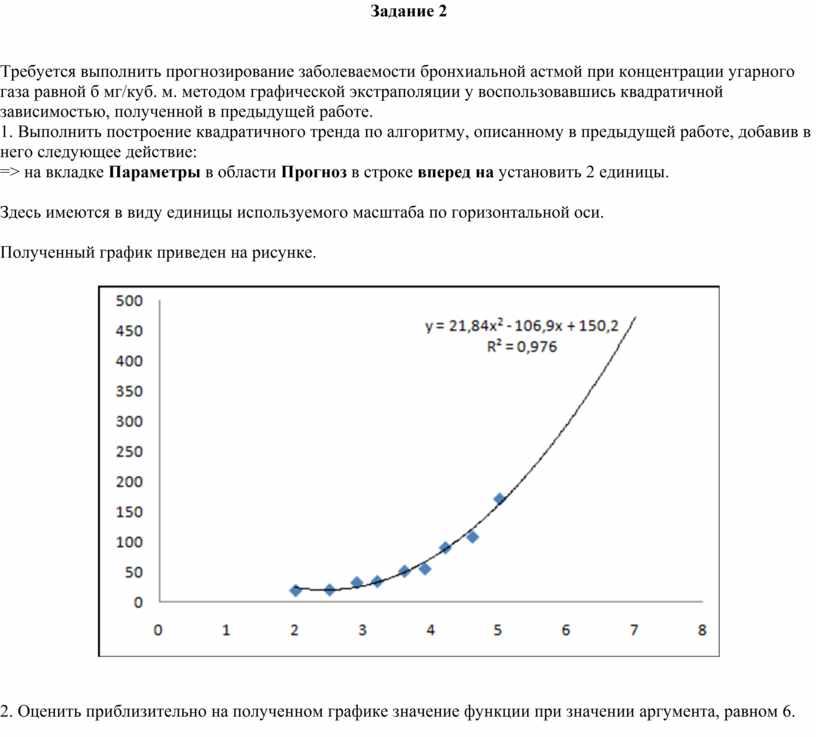 Задание 2 Требуется выполнить прогнозирование заболеваемости бронхиальной астмой при концентрации угарного газа равной б мг/куб