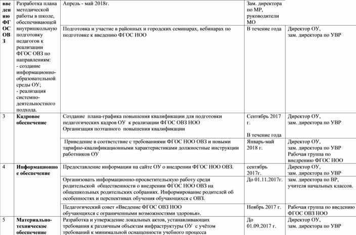 """План - график """"Дорожная карта по ОВЗ"""""""