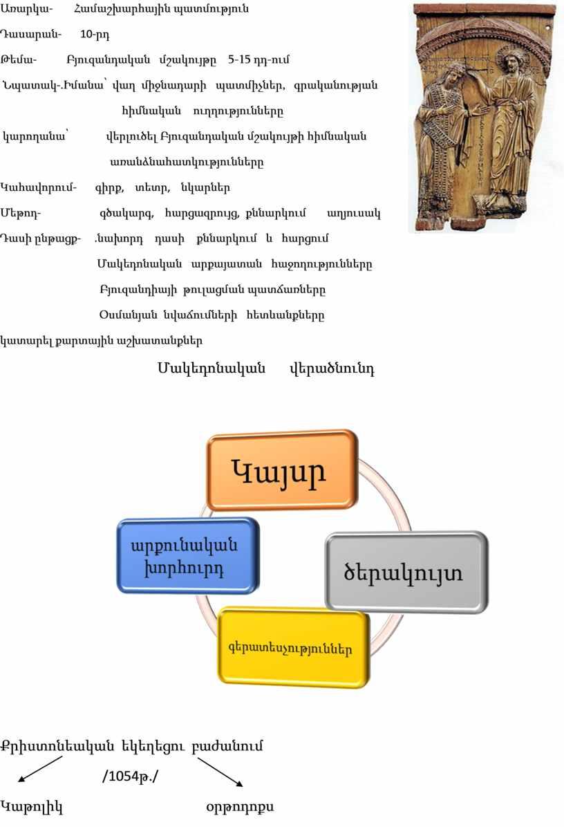 Առարկա - Համաշխարհային պատմություն Դասարան - 10- րդ Թեմա - Բյուզանդական մ շակույթը 5-15 դդ - ում Նպատակ -. Իմանա՝ վաղ միջնադարի պատմիչներ , գրականության…
