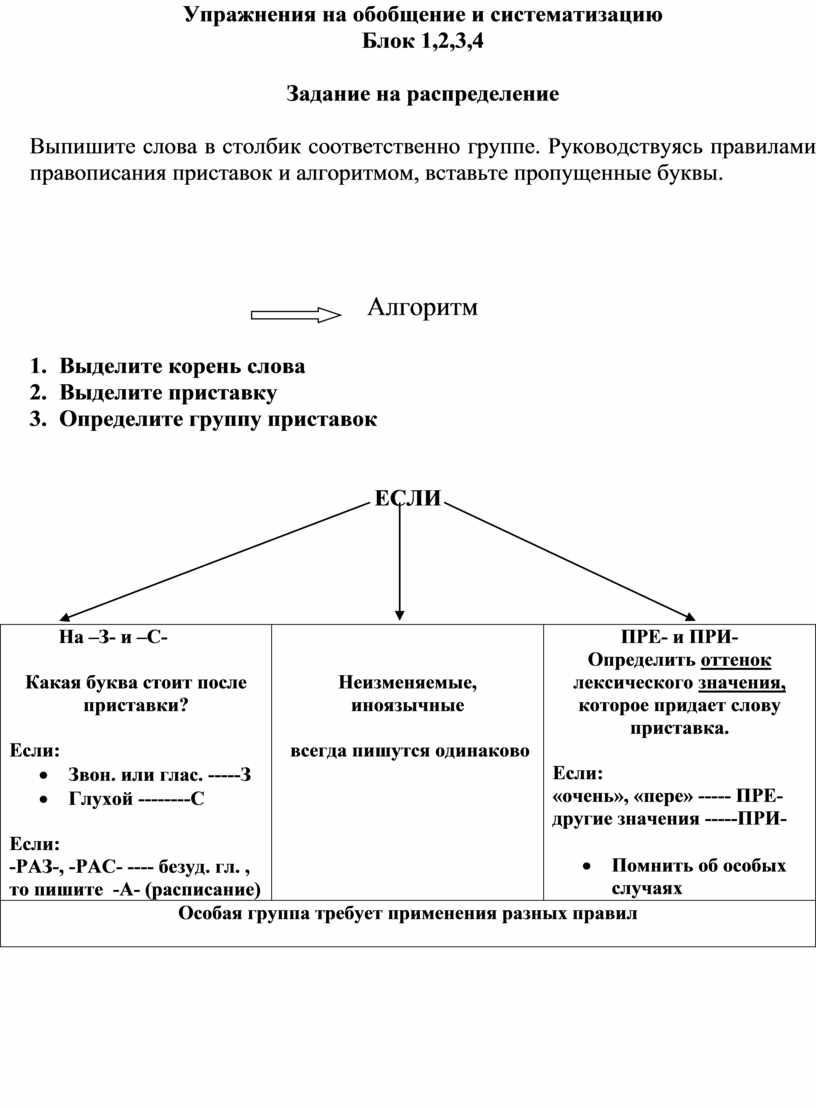 Упражнения на обобщение и систематизацию