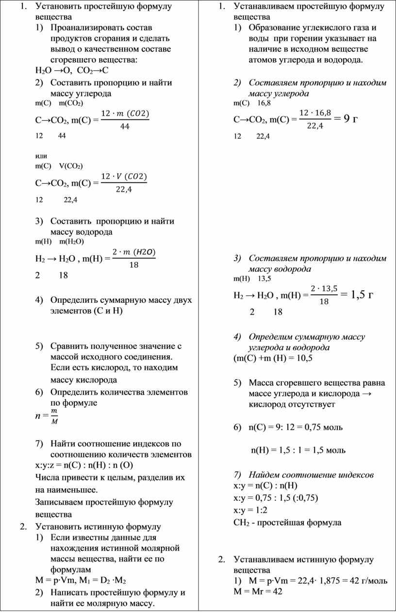 Установить простейшую формулу вещества 1)