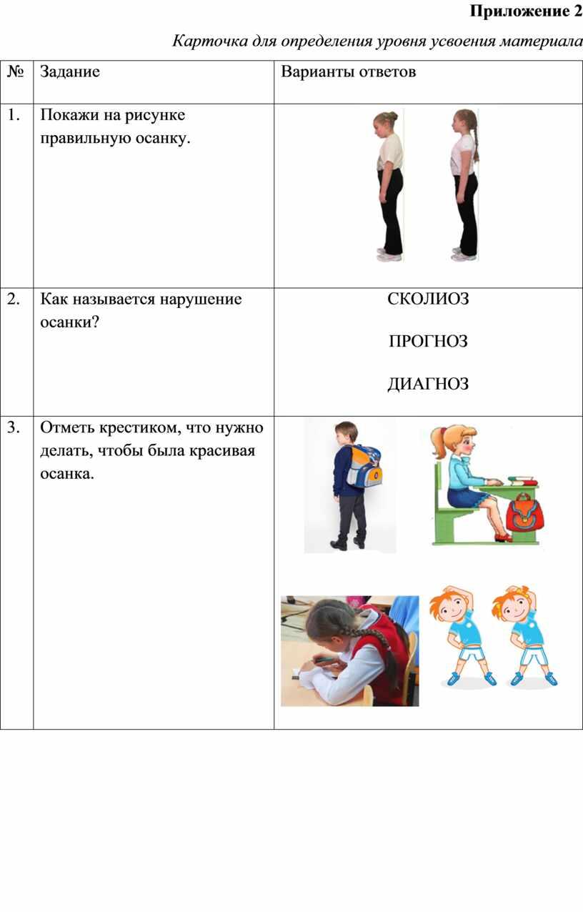 Приложение 2 Карточка для определения уровня усвоения материала №