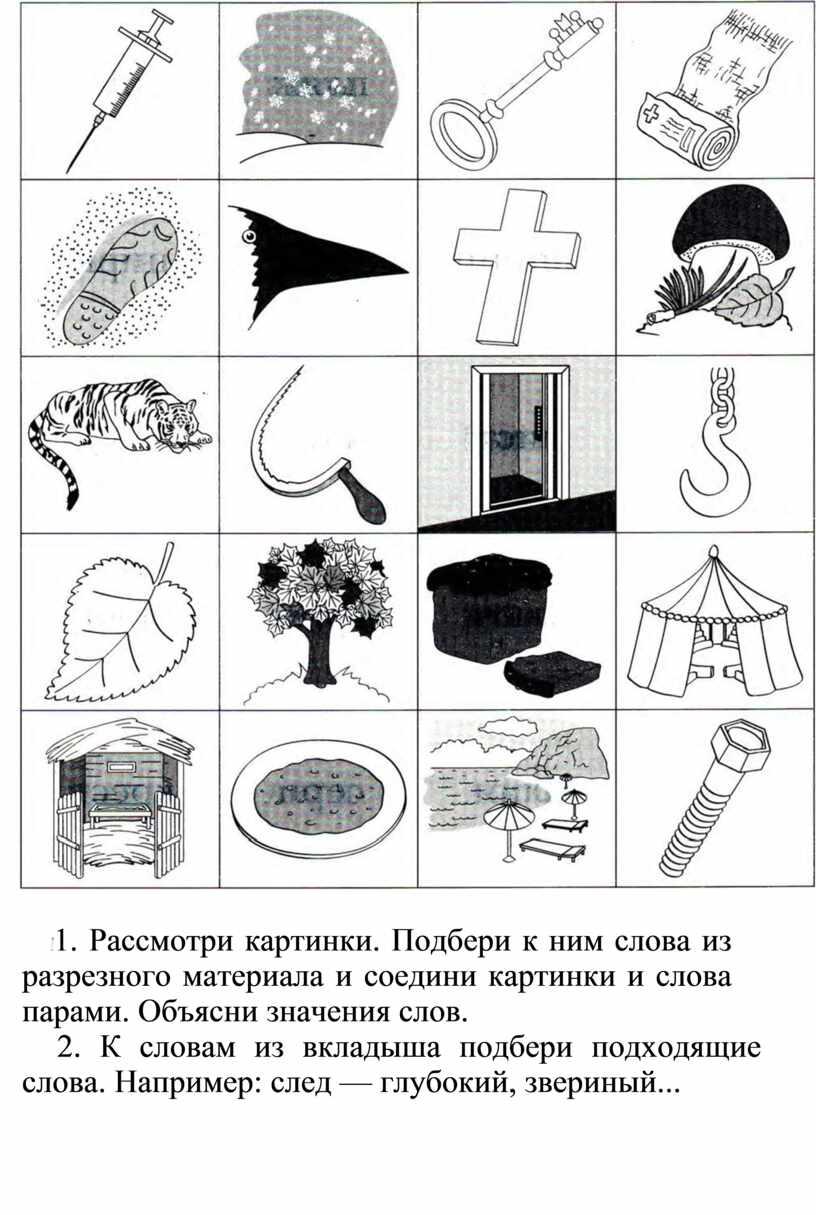 Рассмотри картинки. Подбери к ним слова из разрезного материала и соедини картинки и слова парами