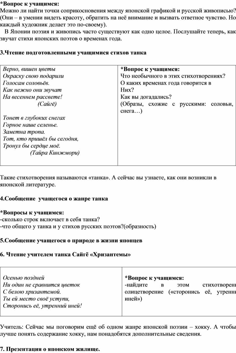 Вопрос к учащимся: Можно ли найти точки соприкосновения между японской графикой и русской живописью? (Они – в умении видеть красоту, обратить на неё внимание и…