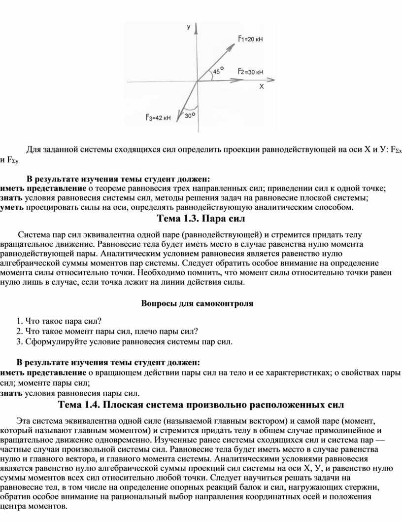 Для заданной системы сходящихся сил определить проекции равнодействующей на оси