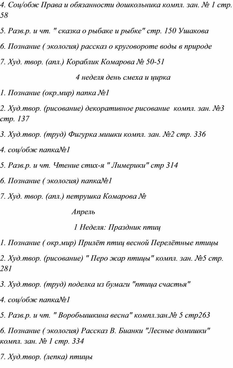 Соц/обж Права и обязанности дошкольника компл