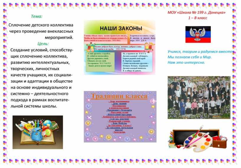 Тема: Сплочение детского коллектива через проведение внеклассных мероприятий