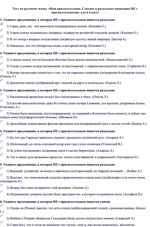 Тест по русскому языку «Имя прилагательное