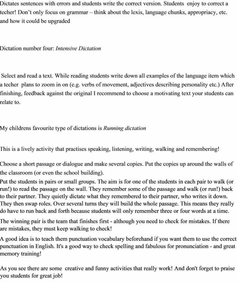 Dictates sentences with errors and students write the correct version