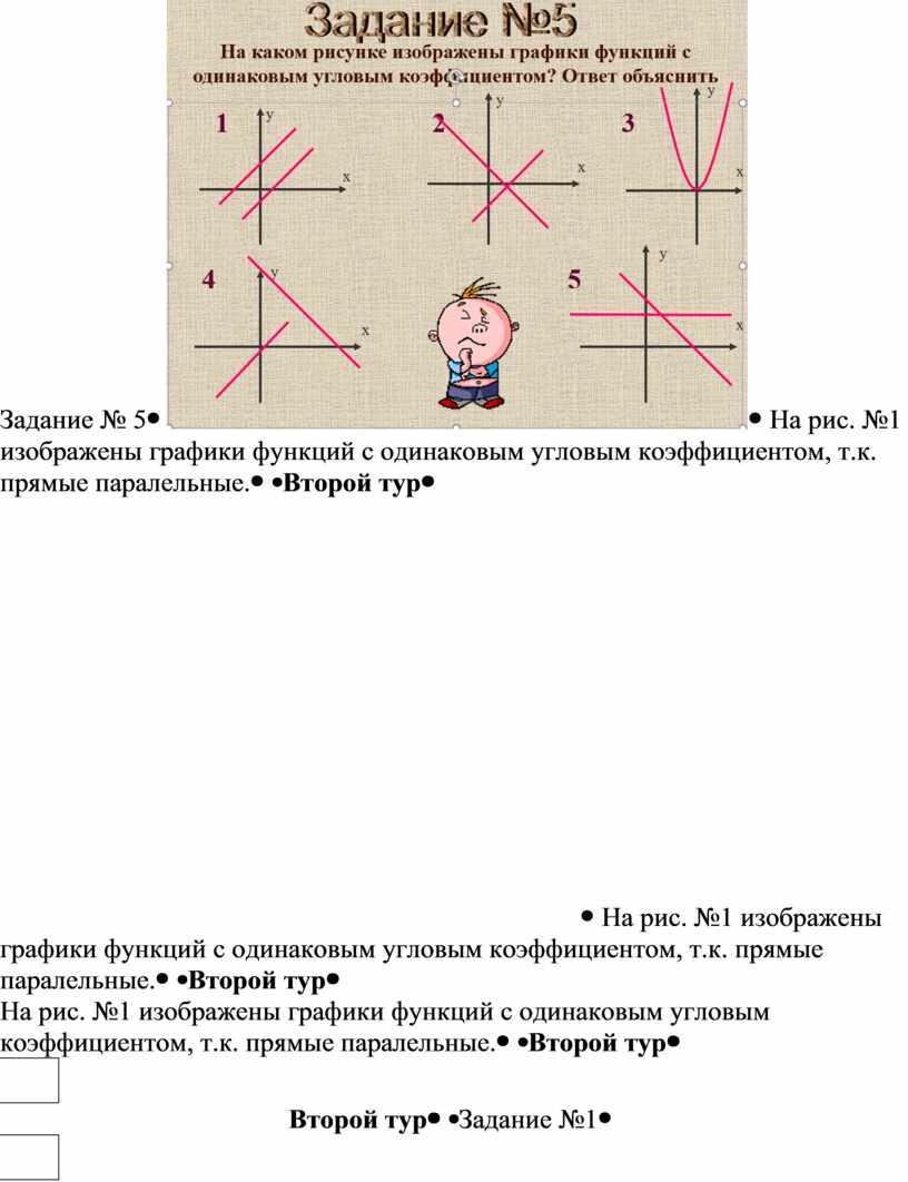 Задание № 5 На рис. №1 изображены графики функций с одинаковым угловым коэффициентом, т