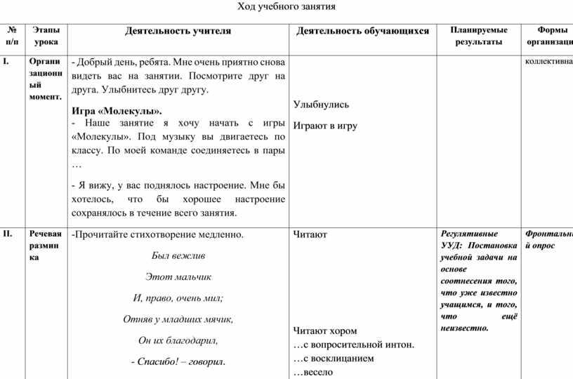 Ход учебного занятия № п/п