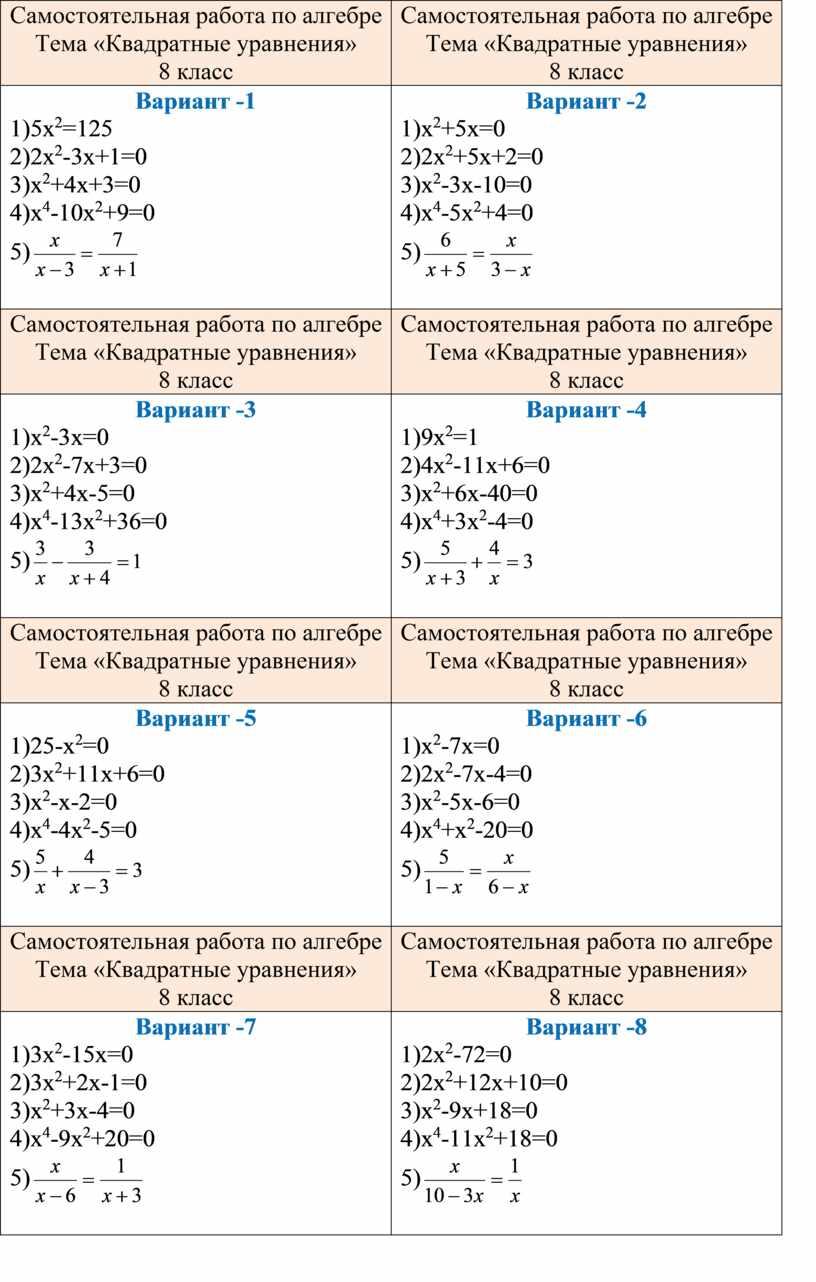 Самостоятельная работа по алгебре