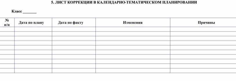 ЛИСТ КОРРЕКЦИИ В КАЛЕНДАРНО-ТЕМАТИЧЕСКОМ