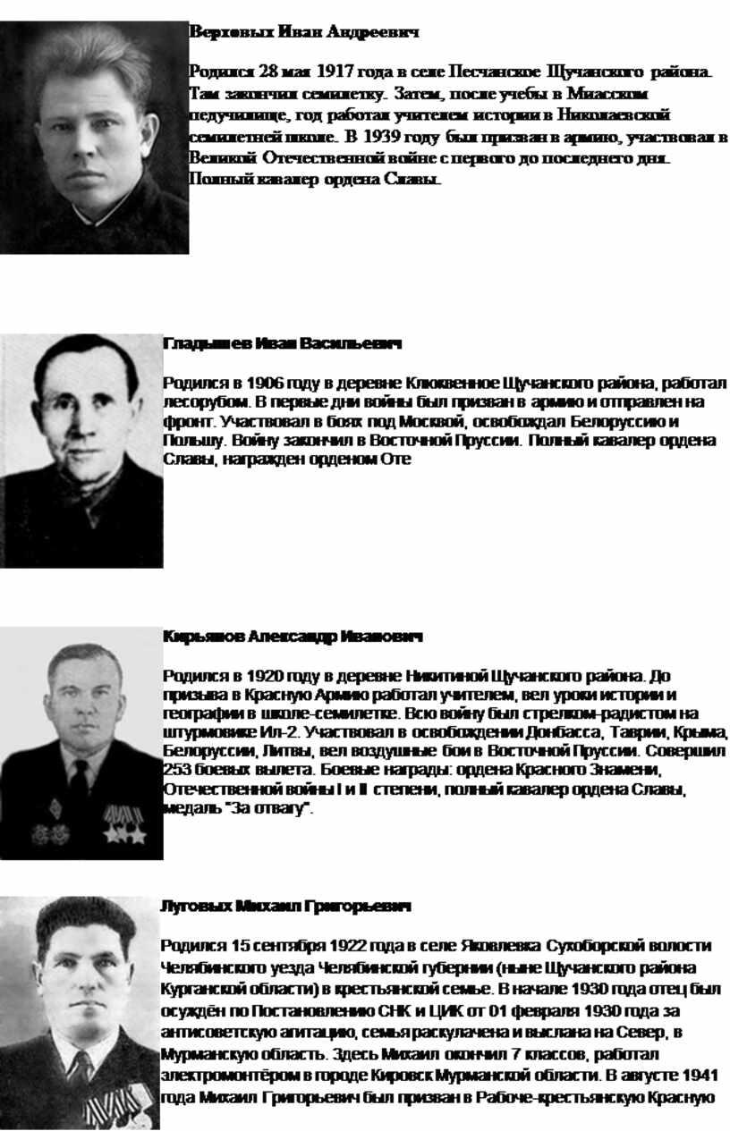 Верховых Иван Андреевич Родился 28 мая 1917 года в селе