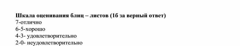 Шкала оценивания блиц – листов (1б за верный ответ) 7-отлично 6-5-хорошо 4-3- удовлетворительно 2-0- неудовлетворительно