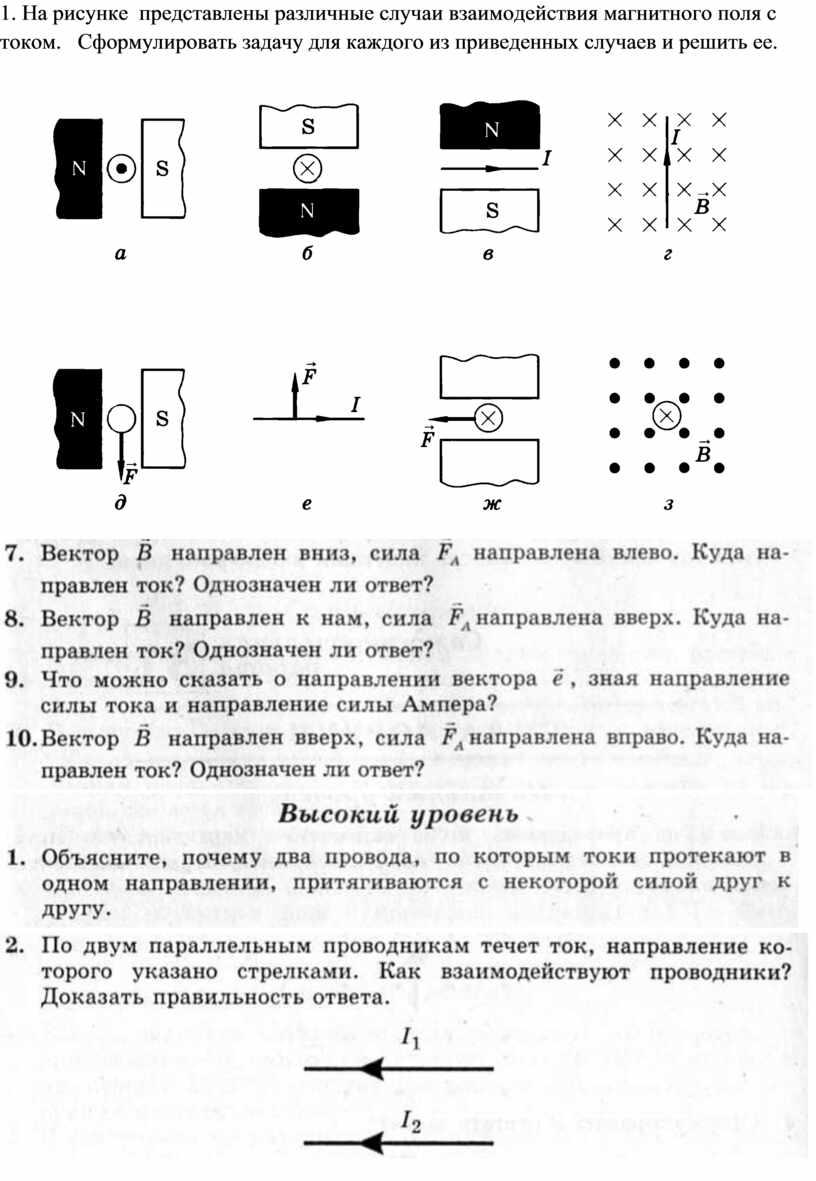 На рисунке представлены различные случаи взаимодействия магнитного поля с током