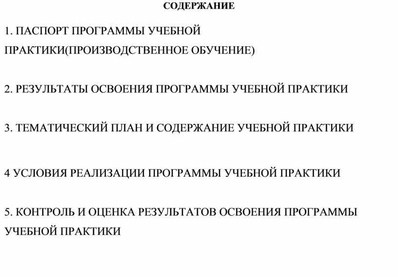 СОДЕРЖАНИЕ 1. ПАСПОРТ