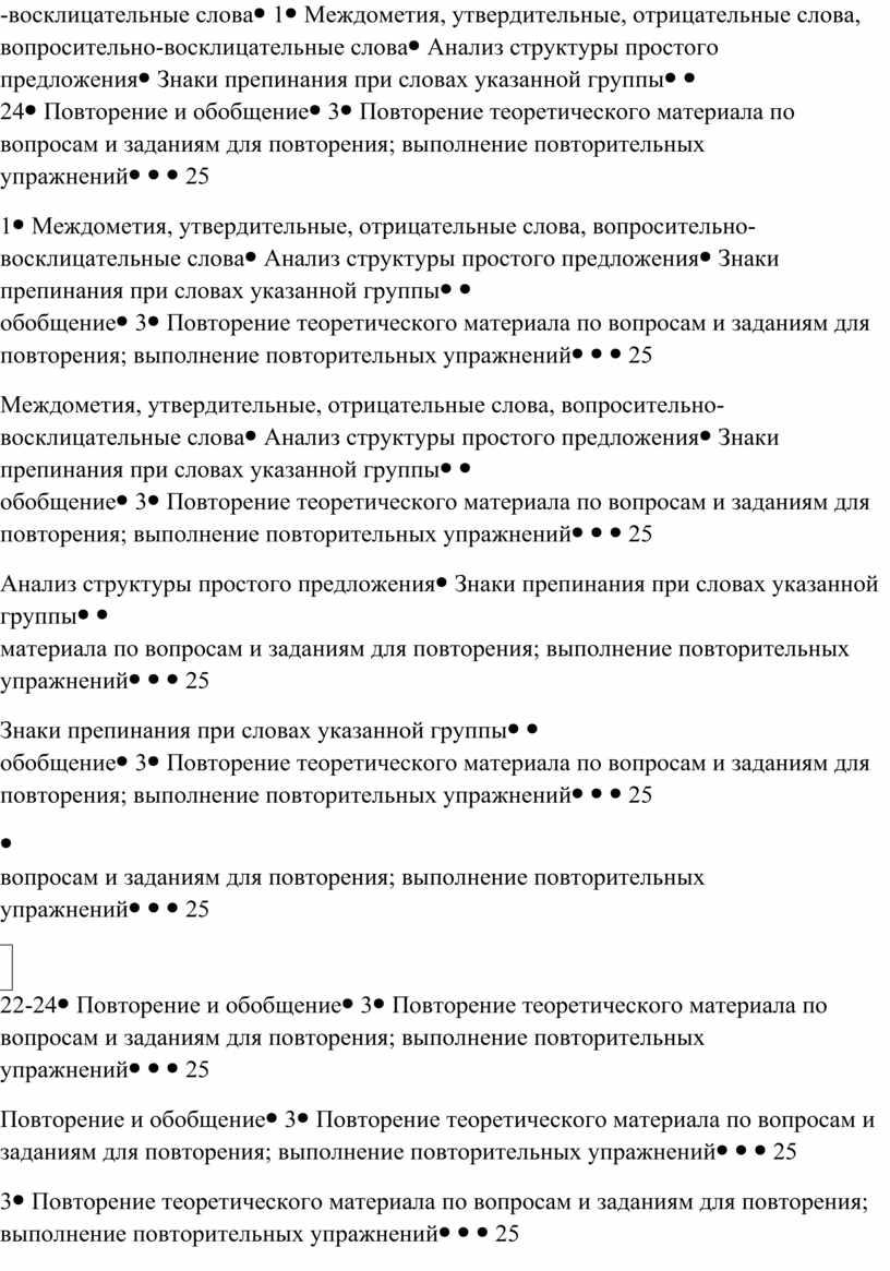 Междометия, утвердительные, отрицательные слова, вопросительно-восклицательные словаАнализ структуры простого предложенияЗнаки препинания при словах указанной группы 22-24