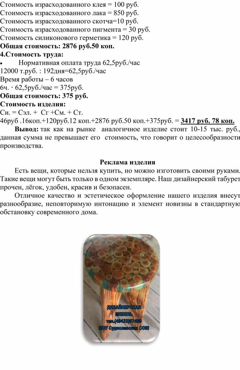 Стоимость израсходованного клея = 100 руб