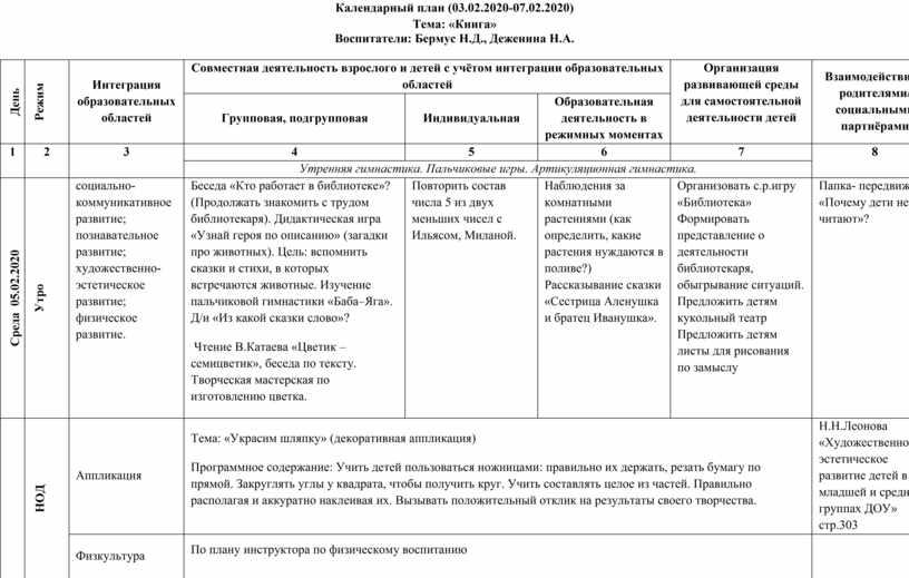 Календарный план (03.02.2020-07