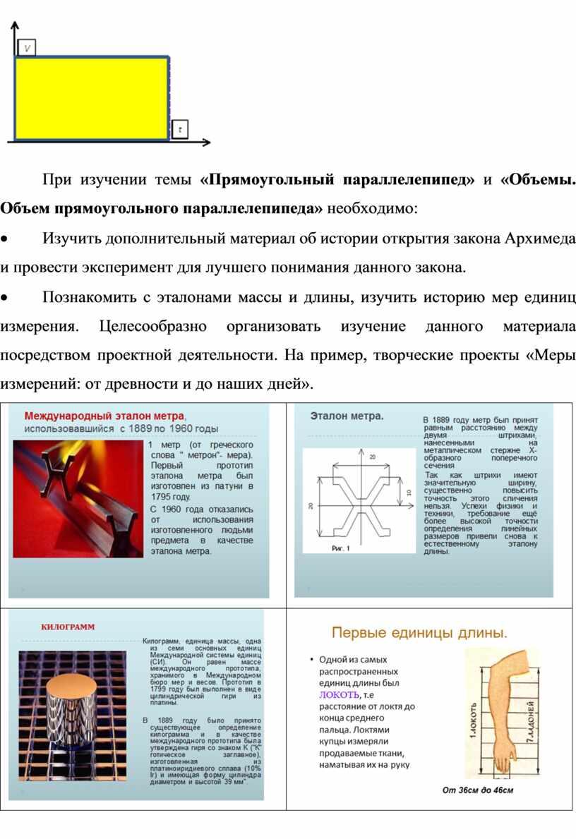 При изучении темы «Прямоугольный параллелепипед» и «Объемы