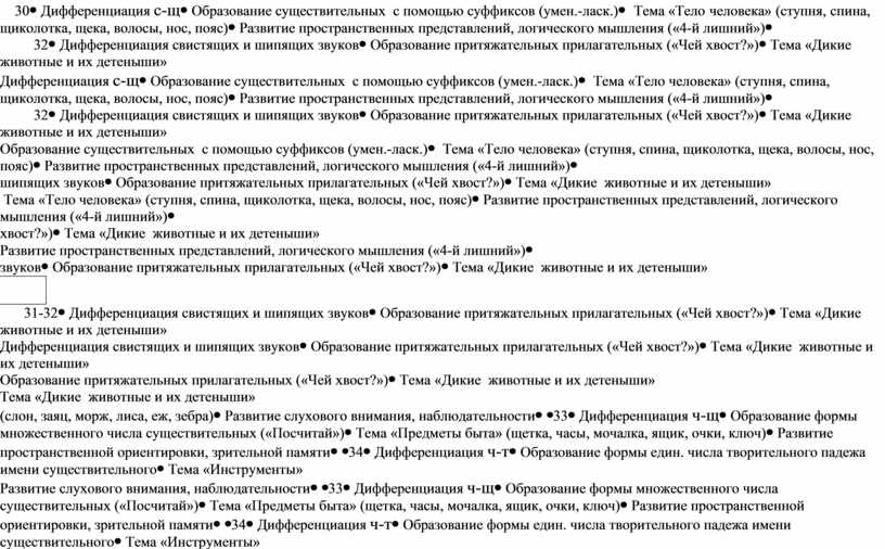 Дифференциация с-щ Образование существительных с помощью суффиксов (умен