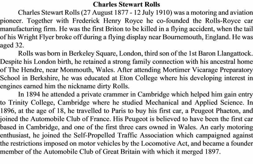 Charles Stewart Rolls Charles