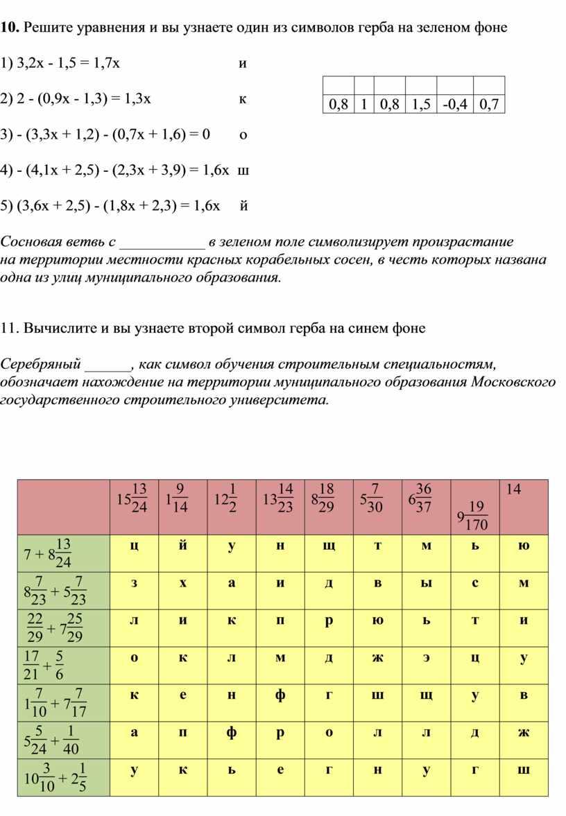 Решите уравнения и вы узнаете один из символов герба на зеленом фоне 1) 3,2x - 1,5 = 1,7x и 0,8 1 0,8 1,5 -0,4 0,7…