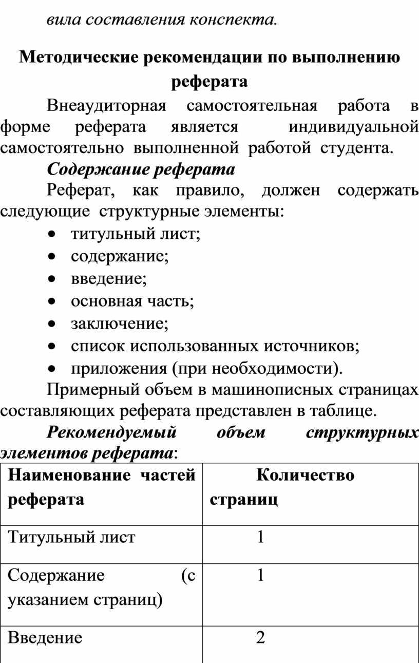 Методические рекомендации по выполнению реферата