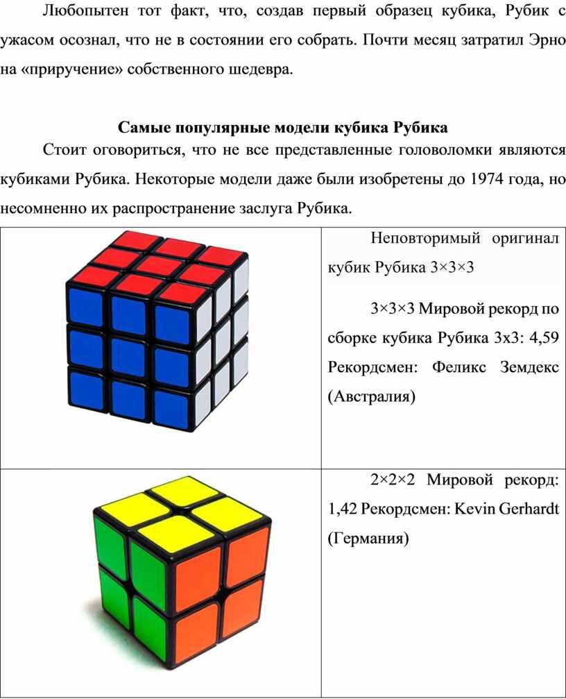 Любопытен тот факт, что, создав первый образец кубика,