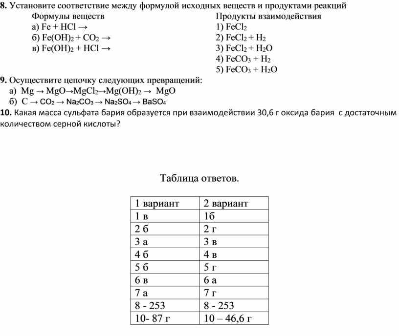Установите соответствие между формулой исходных веществ и продуктами реакций