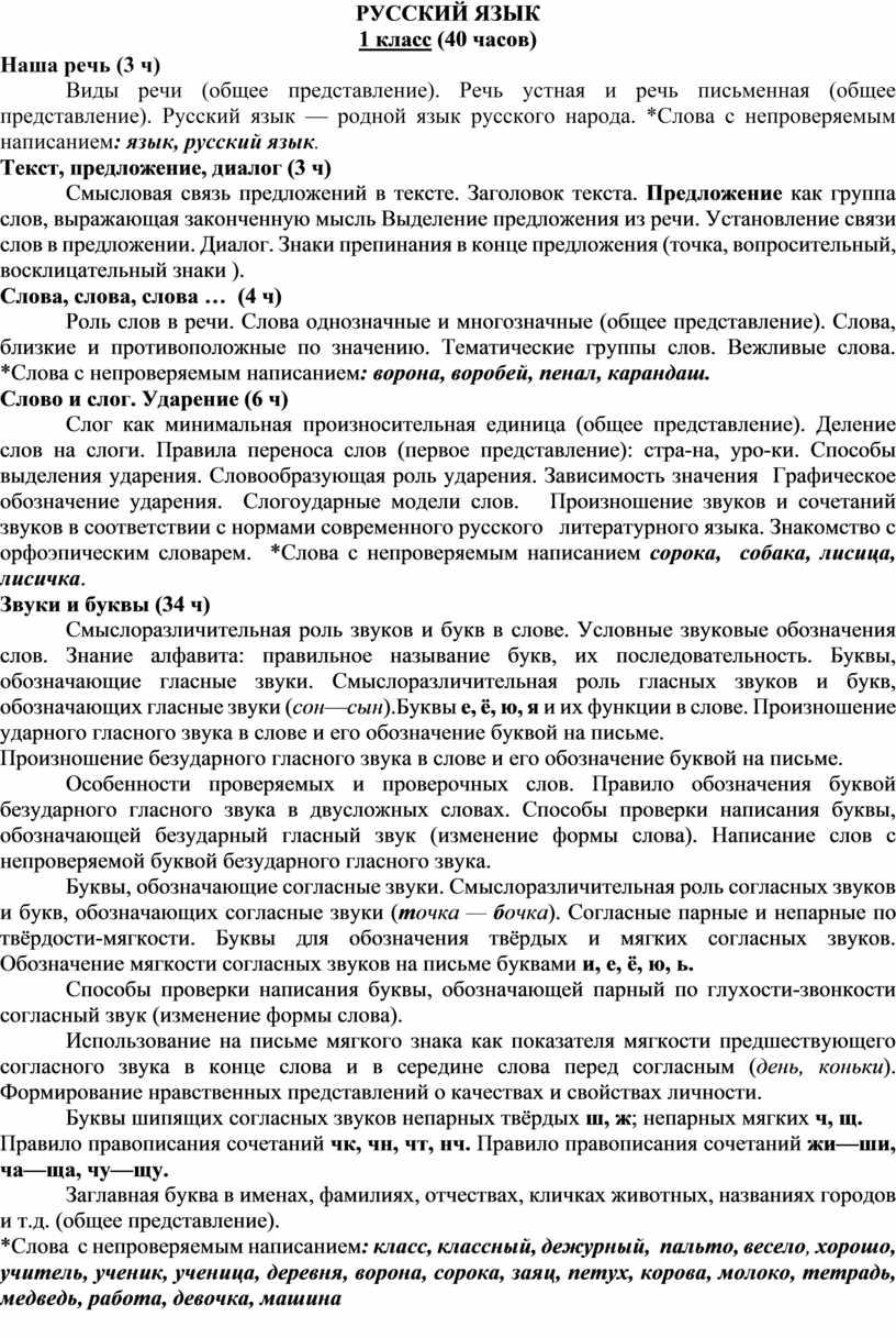 РУССКИЙ ЯЗЫК 1 класс (40 часов)